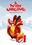 New Year greeting. Christmas and New Year greeting card with cheerful rooster with big gift on snowy winter landscape. Rooster - symbol of year 2017. Vector Stock Photos