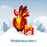 New Year greeting. Christmas and New Year greeting card with cheerful rooster with big gift on snowy winter landscape. Rooster - symbol of year 2017. Vector Royalty Free Stock Photography