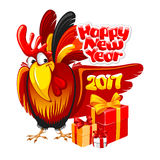 New Year greeting. Christmas and New Year greeting card with cheerful rooster with big gift  on white background. Rooster - symbol of year 2017. Vector Stock Images
