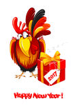 New Year greeting. Christmas and New Year greeting card with cheerful rooster with big gift  on white background. Rooster - symbol of year 2017. Vector Royalty Free Stock Photos