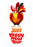New Year greeting. Christmas and New Year greeting card with cheerful rooster with lettering inscription Happy New Year and 2017 digits,  on white background Royalty Free Stock Photography
