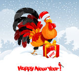New Year greeting. Christmas and New Year greeting card with cheerful rooster in Santa hat with big gift on snowy winter landscape. Rooster - symbol of year 2017 Royalty Free Stock Image