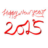 New year 2015 greeting design. Creative happy new year 2015 greeting design with red ribbon Royalty Free Stock Images