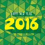 New year 2016 greeting design. Happy new year 2016 greeting card or banner with green geometrical pattern background design stock illustration