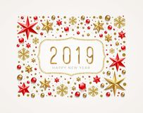 New Year 2019 greeting illustration. Frame made from stars, ruby gems, golden snowflakes, beads and glitter gold. Vector illustration vector illustration