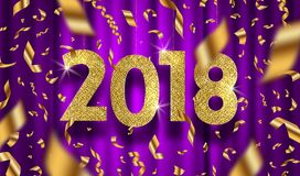 New year 2018 greeting illustration. Glitter gold numbers and golden foil confetti on a purple curtain background vector illustration