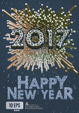 2017 New year greeting with isometric art style. Abstract 3D geometric isometric style on night blue background for happy new year celebration Royalty Free Stock Photo