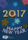 2017 New year greeting with isometric art style Royalty Free Stock Image