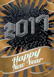 2017 New year greeting with isometric art style. Abstract 3D geometric isometric pop art style on shining orange gold graphic background for happy new year Royalty Free Stock Image