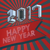 2017 New year greeting with isometric art style. Abstract 3D geometric isometric text style on red and dark blue shining graphic background for happy new year Stock Illustration