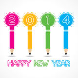 New year greeting with pencil bulb,2014 Royalty Free Stock Image