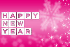 New Year greeting pink background. Happy New Year greeting pink facebook background banner with white snowflakes and stars Stock Photos