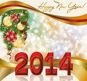 New 2014 Year greeting postcard. Vector Stock Illustration