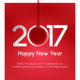 NEW YEAR GREETING. In red background for 2017 Royalty Free Stock Image