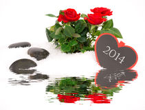 New Year Greeting with roses Stock Images