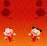 New Year Greetings_boy and girl Stock Image