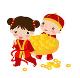 New Year Greetings_boy and girl Royalty Free Stock Photography
