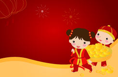 New Year Greetings_boy and girl Royalty Free Stock Image