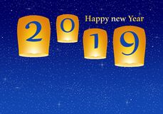 New year greetings for year 2019 with bright blue background with glowing stars with yellow lights and flying chinese lucky lanter. Ns with clematis with number stock illustration
