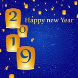 New year greetings for year 2019 with bright blue background with glowing stars with yellow lights and flying chinese lucky lanter. Ns with clematis with number royalty free illustration