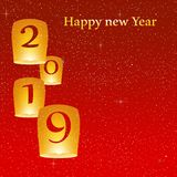 New year greetings for year 2019 with bright red background with glowing stars with yellow lights and flying chinese lucky lantern vector illustration