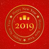 New year greetings for year 2019 with bright red background with glowing stars with yellow lights and flying chinese lucky lantern royalty free illustration