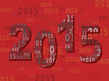 2015 New Year Greetings Card - Digits / Numbers - Modern Red. 2015 New Year Greetings Card with Digits and Numbers - Modern. Red Colors Stock Photos