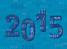 2015 New Year Greetings Card - Digits / Numbers - Modern Blue Stock Photos
