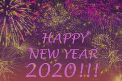 New Year 2020 greetings card. Fireworks effects on background stock illustration
