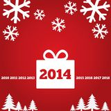 New Year greetings card with flat icons, 2014 Stock Photos