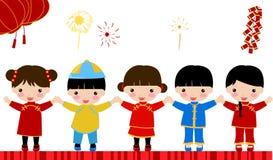 New Year Greetings_children. Illustration art Royalty Free Stock Photos