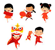 New Year Greetings children Stock Photo