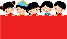 New Year Greetings_chinese children and banner Royalty Free Stock Images
