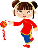 New Year Greetings_chinese girl Stock Photography