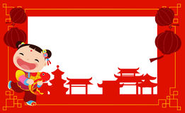 New Year Greetings_Chinese girl. Illustration of New Year Greetings_Chinese girl Stock Images