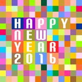 New Year Greetings of colored squares of inscription happy new year 2016 on the colored squares in the middle vector illustration