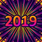 2019, New year greetings with fireworks. Vector illustration. 2019, New year greetings. Greeting card, background with fireworks. Vector illustration royalty free illustration