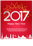 NEW YEAR GREETINGS. New year greeting in red background with firework Stock Photos
