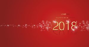 New Year 2017 greetings loading firework gold white red color. New Year 2017 greetings loading stardust firework spark gold white red color Royalty Free Stock Photo