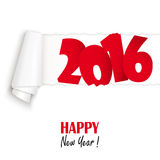 New year 2016 greetings. Ripped open white paper showing 2016 and text Happy New Year Royalty Free Stock Photography