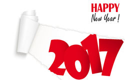 New year 2017 greetings. Ripped open white paper showing 2017 and text Happy New Year Stock Image