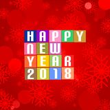New Year Greetings for 2018 with white lettering happy new year 2018 on the colored squares in the middle on a background with col. Orful red snowflakes and vector illustration