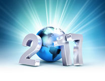 2017 New Year greetings for worldwide business. 2017 New Year type composed with a blue planet earth, on a shining light background - 3D illustration stock illustration