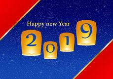 New year greetings for year 2019 with bright red background and blue strip, yellow lights and flying chinese lucky lanterns with c vector illustration