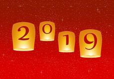 New year greetings for year 2019 with bright red background with glowing stars with yellow lights and flying chinese lucky lantern stock illustration