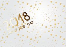 2018 New Year grey background with gold glitter confetti splatter texture. Festive premium design template. For holiday greeting card, invitation, calendar Royalty Free Stock Photos