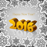 New Year 2016 grey background. Golden New Year 2016 on a grey background with snowflakes stock illustration