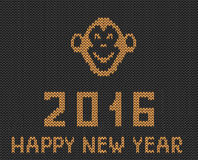New year grey orange greeting  knitted pattern with monkey Royalty Free Stock Images