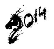 2014 new year grunge horse. On white Stock Illustration
