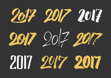 New Year 2017 hand drawn calligraphy numbers set. For greeting cards decoration. Typography design for Chinese Year of the Rooster. Vector illustration Royalty Free Stock Images